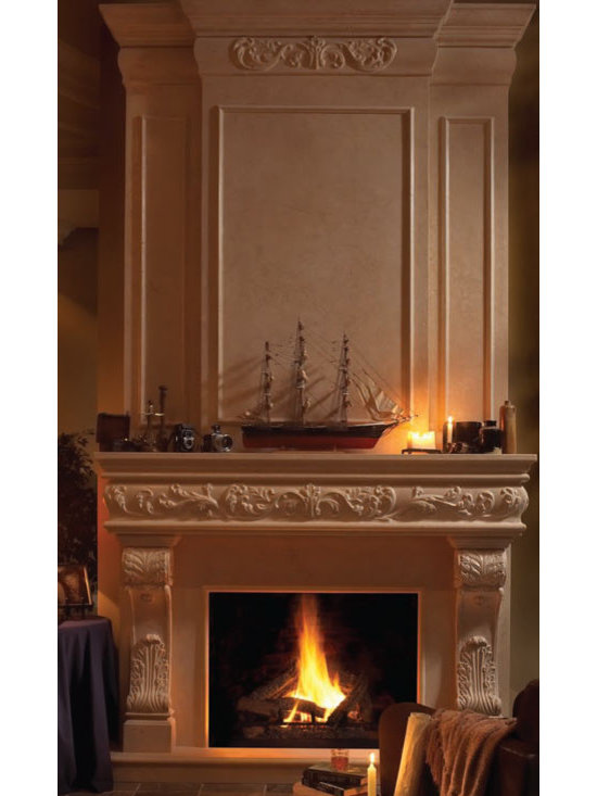 "Regal stone fireplace overmantel - ""omega cast stone fireplace mantle"""