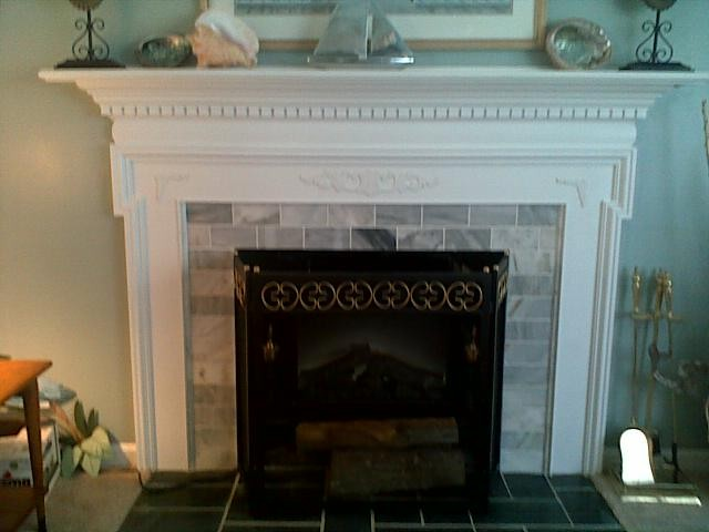 Fireplace Mantle Cover Ugly Brick Traditional Living
