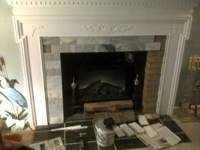 Fireplace mantle cover ugly brick traditional living - Covering brick fireplace with tile ...