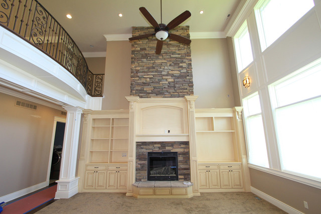 Fireplace Off White With Stone Traditional Living Room