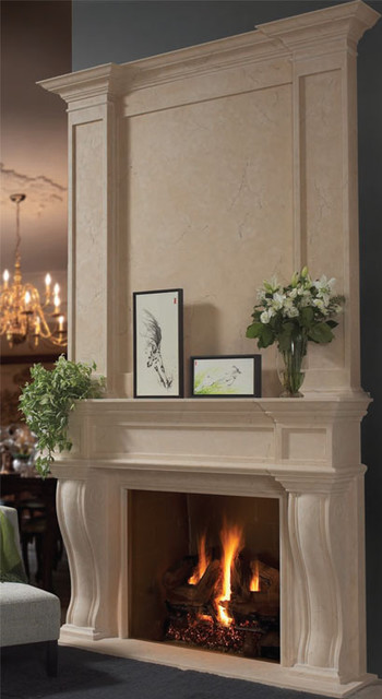 Fresno stone fireplace overmantel - Traditional - by Omega ...