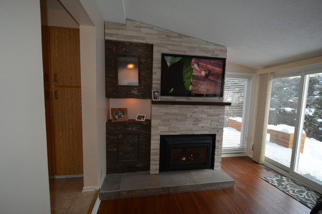 Fireplace surround from floor to ceiling and cabinets contemporary living room ottawa by for Floor to ceiling cabinets for living room