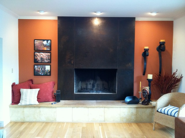 Steel plate fireplace surround