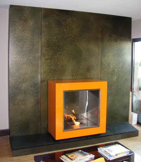 Fireplace surrounds fireplace screen doors fireplace art contemporary portland by aztec - Houzz fireplace screens ...