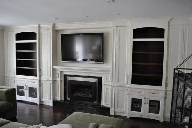 Mirror Decoration mounting mirrors on walls : Fireplace/ TV wall unit - Traditional - Living Room ...