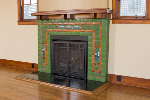 Fireplace With Batchelder Tile Eclectic Living Room San Diego By Ambience Photography