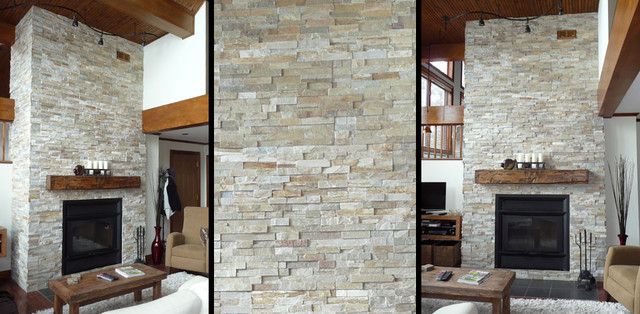 Fireplace with real stone contemporary-living-room