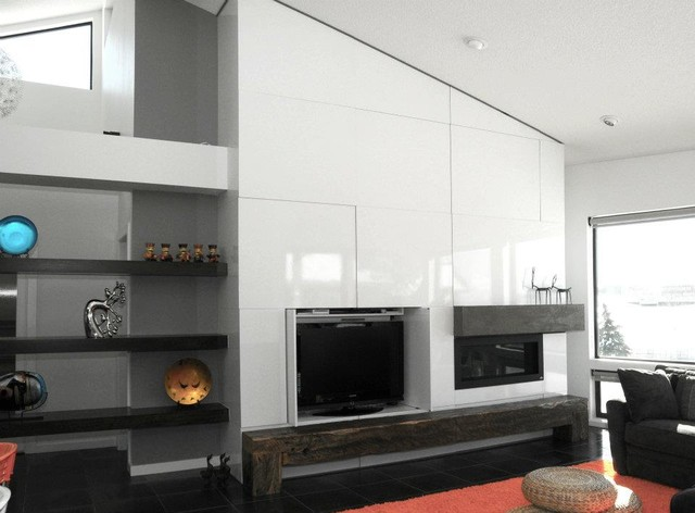 Fireplace With TV Hidden Contemporary Living Room