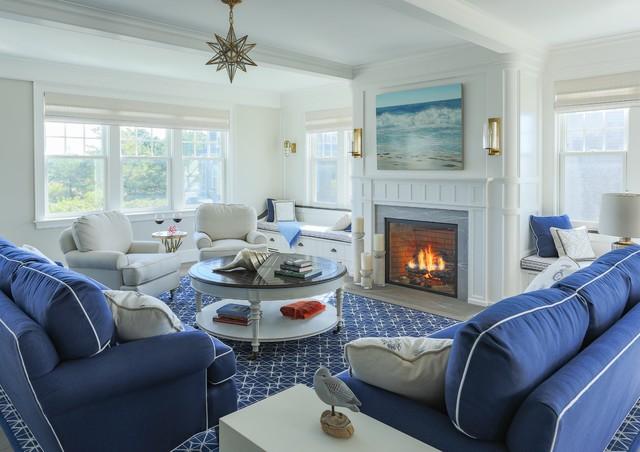 Fireplaced living room - Al Mare - Soggiorno - boston - di SpaceCraft ...