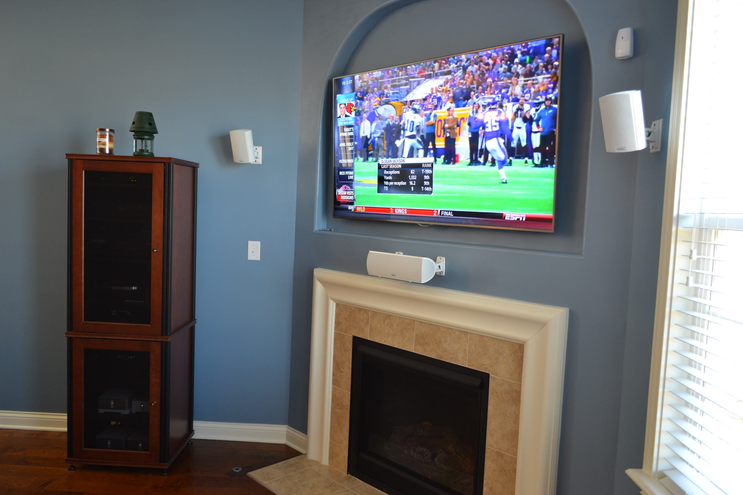 """Fishers, IN - 65"""" Mounted TV Panel, Audio Rack & Surround Sound"""