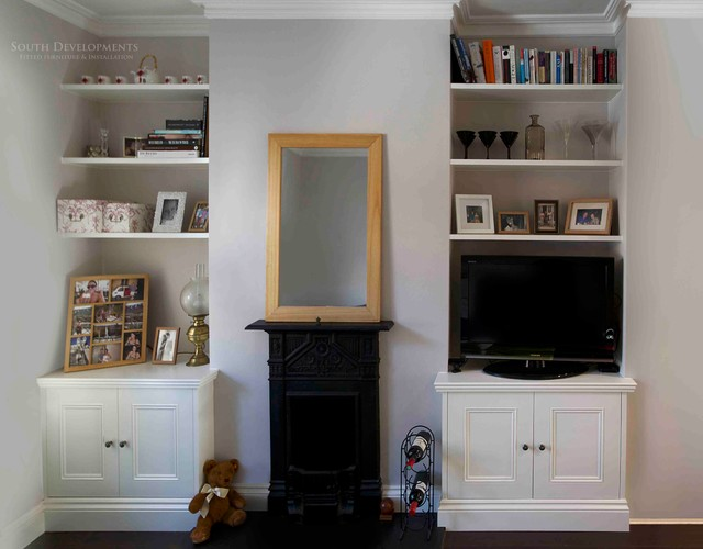 Fitted Alcove Cupboards Floating Shelves Traditional Living Room London By South