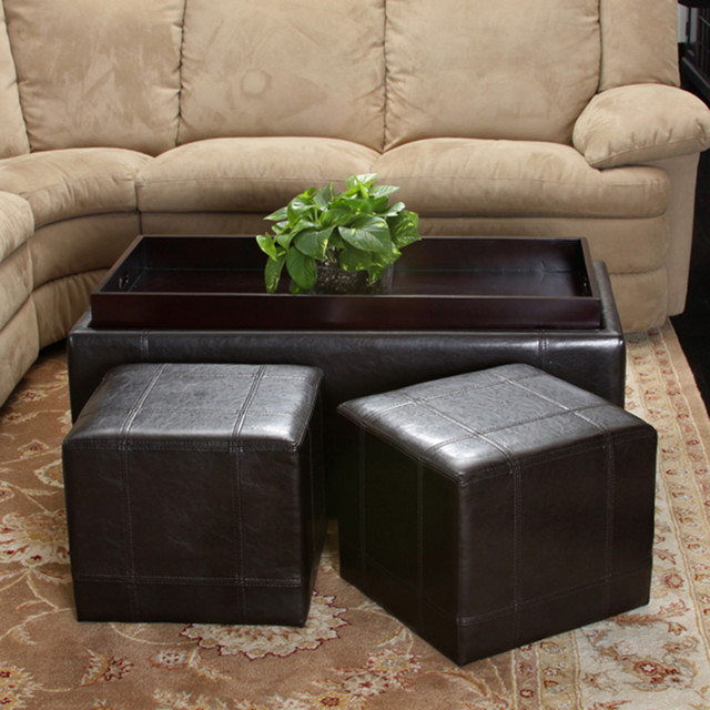Five Brooks Espresso Brown Leather Ottoman Set (Set Of 3) Modern Living