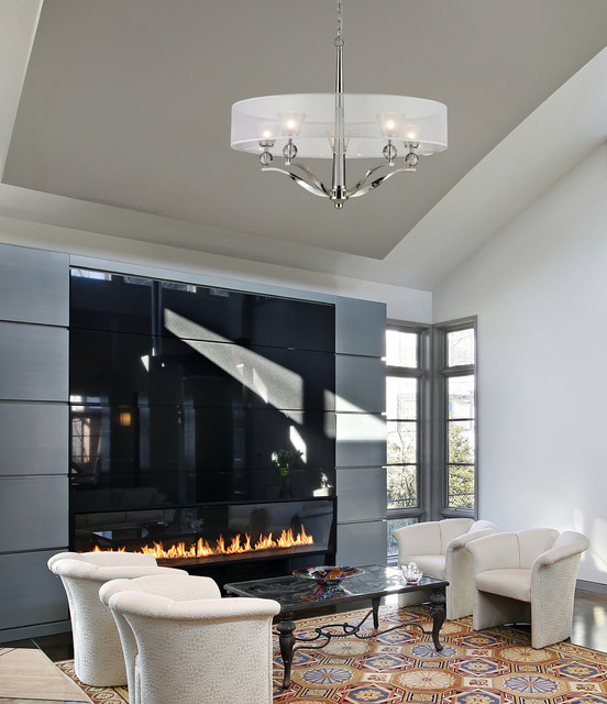 Five Light Polished Nickel Drum Shade Chandelier transitional-living ...
