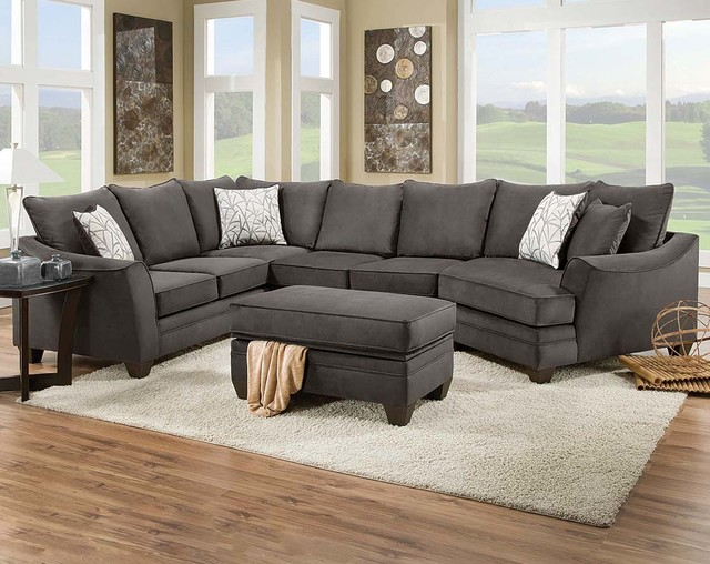 Flannel Seal 2 Piece Sectional Sofa Traditional Living Room Columbus