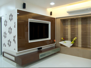 Flat In Mulund Mumbai Contemporary Living Room Mumbai By