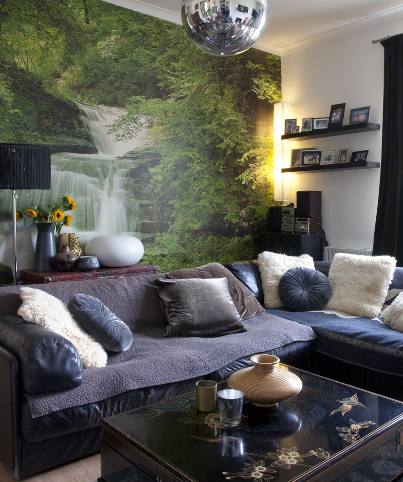 Eclectic enclosed living room photo in London