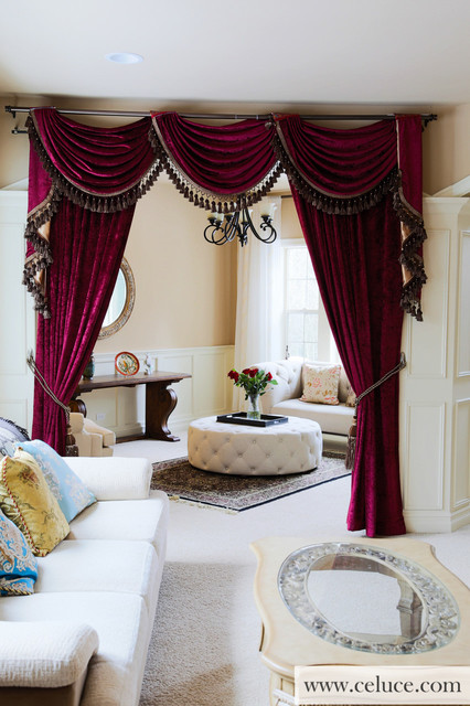 Flip Pole Swag Valance Curtains, Swag Curtains For Living Room