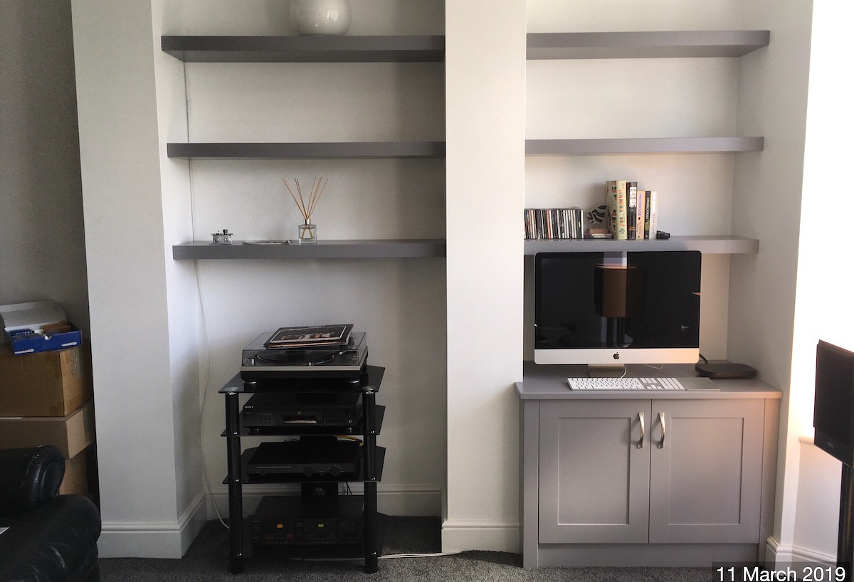Floating Alcove Shelves and Shaker Style Cupboard in Grey