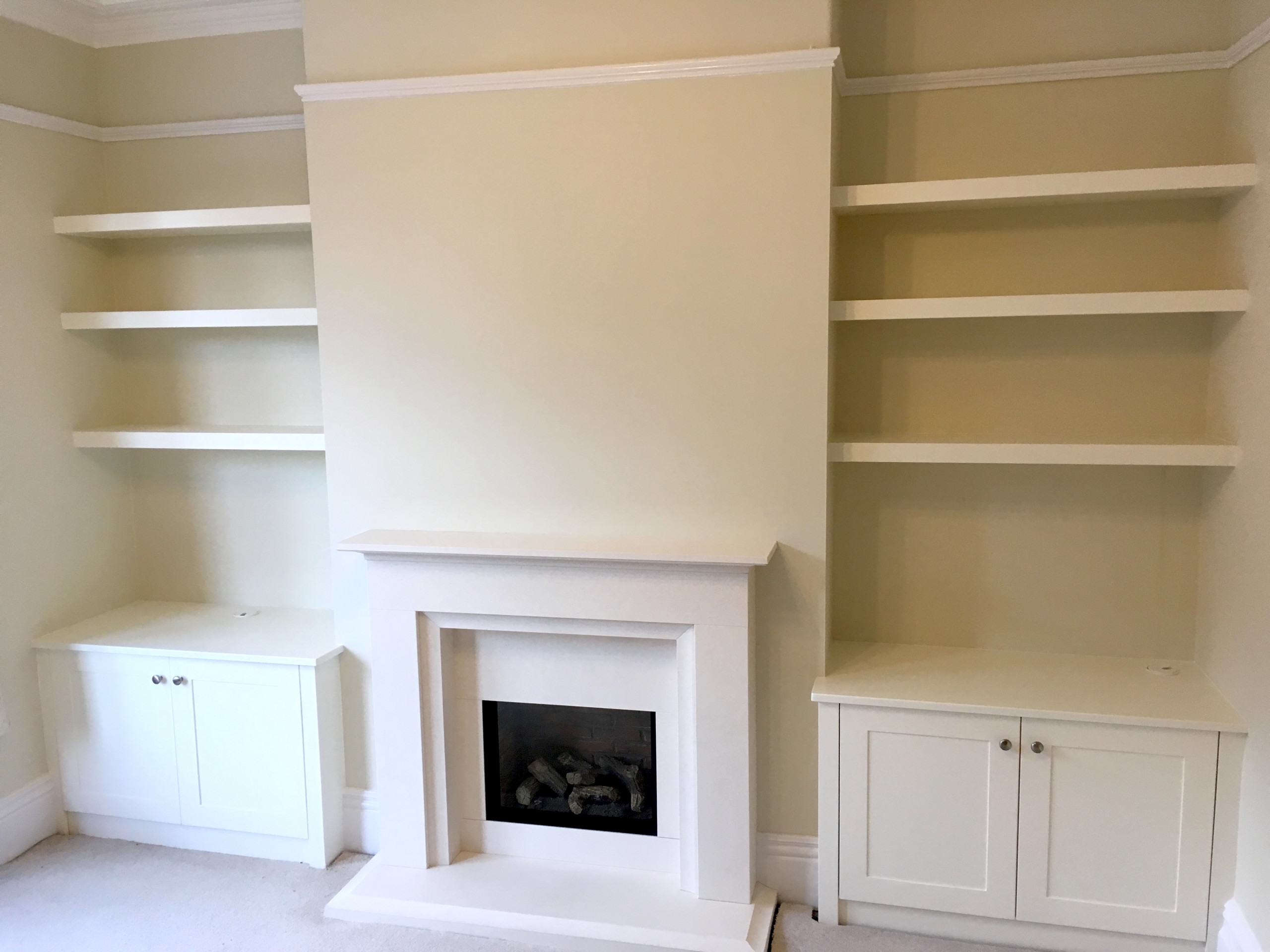 Floating Alcove Shelves and Shaker Style Cupboards