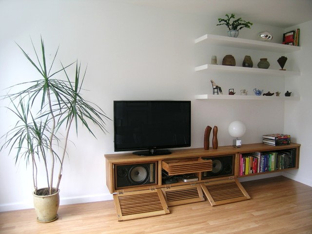 Floating media cabinet and shelves contemporary living room toronto by akroyd furniture for Floating tv stand living room furniture