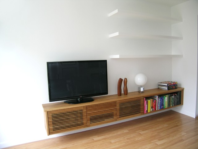 Floating Media Cabinet And Shelves Contemporary Living Room Toronto B