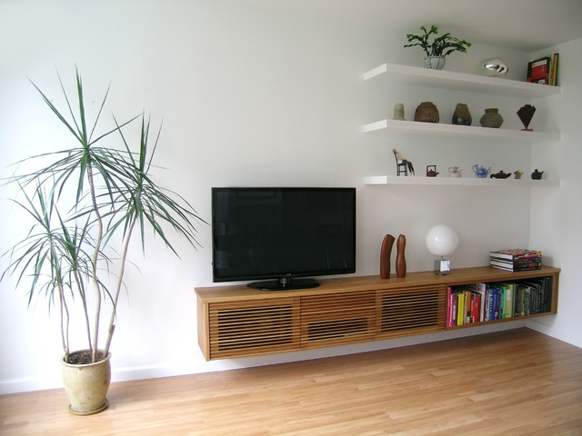 Floating media cabinet and shelves contemporary living Modern shelves for living room