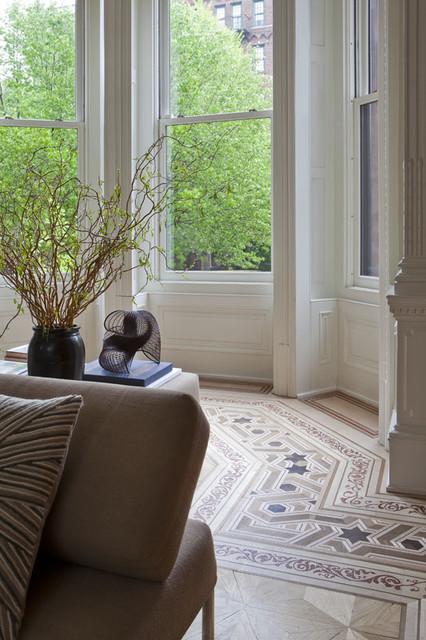 floor border restoration transitional living room. Black Bedroom Furniture Sets. Home Design Ideas