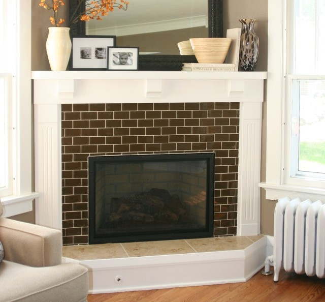 FLOOR360 Glass Tile Fireplace Modern Kitchen Other Metro By