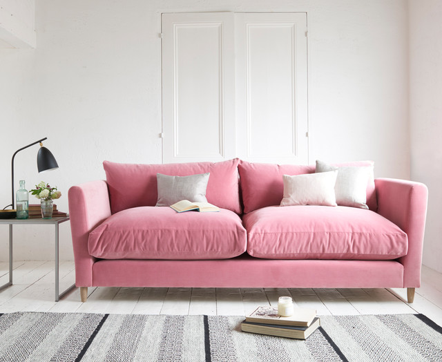 flopster sofa in dusty rose clever velvet contemporary living room london by loaf. Black Bedroom Furniture Sets. Home Design Ideas
