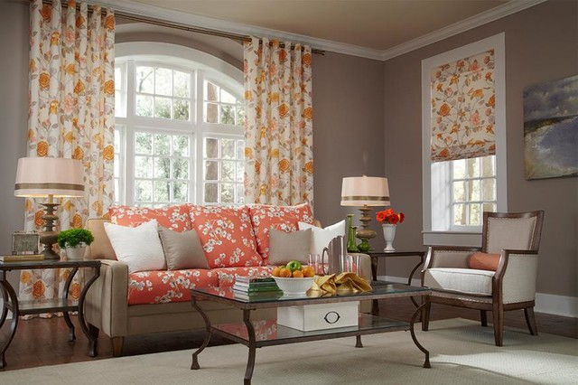 floral orange and yellow curtains & draperies of indianapolis