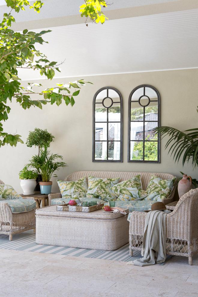 Living room - coastal living room idea in Perth