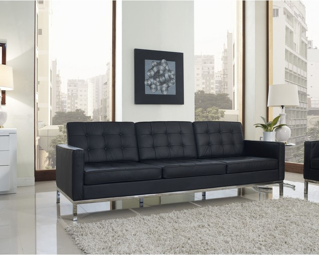 Florence Style Black Leather Loft Sofa Contemporary Living Room