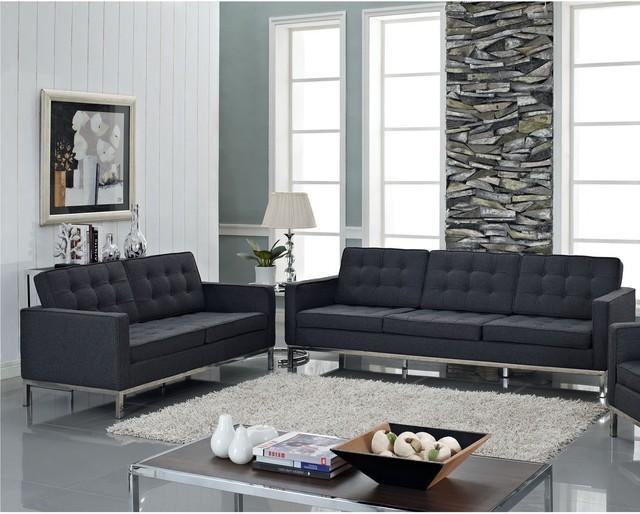 Florence Style Dark Gray Wool Loft Loveseat - Contemporary ...