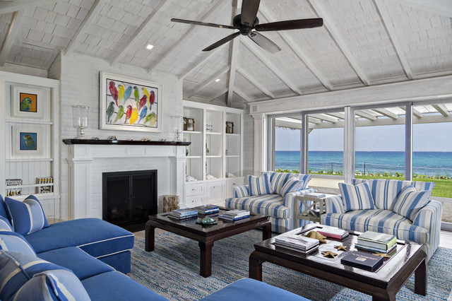Florida beach cottage beach style living room miami for Beach cottage style living room furniture