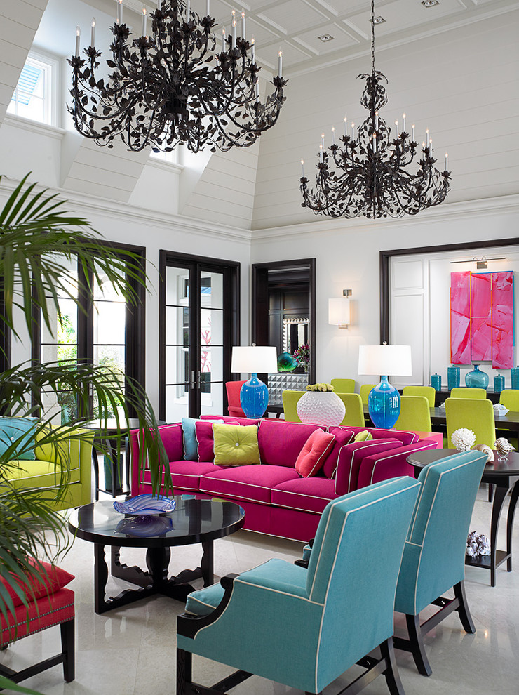 Living room - tropical living room idea in Toronto with white walls