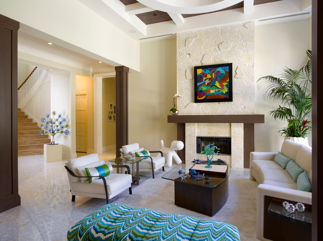 Wonderful Florida Vernacular (Key West Style) Home Contemporary Living Room