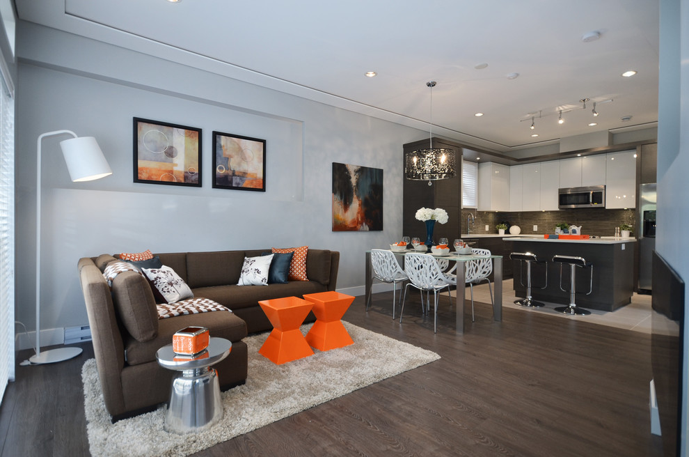 Living room - contemporary living room idea in Vancouver with gray walls