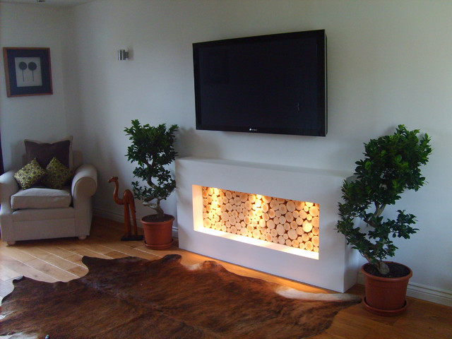 Photo Of A Modern Living Room In Gloucestershire With White Walls, Medium  Hardwood Flooring And