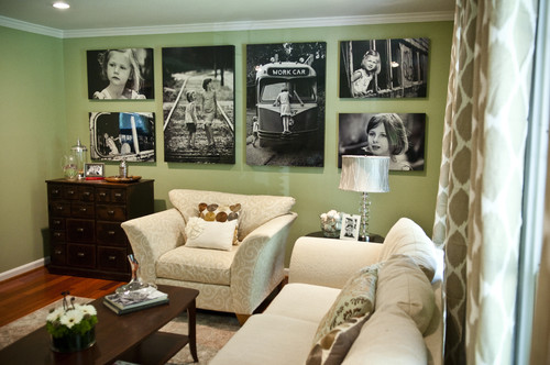 Photo focal point wall in new living room eclectic living room