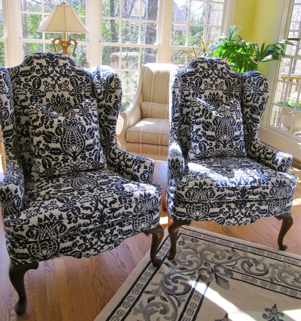 for the love of wingback chairs  traditional  living room, Living room