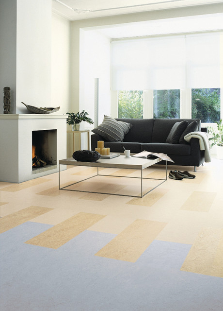 Exceptionnel Inspiration For A Large Modern Open Concept Linoleum Floor Living Room  Remodel In Chicago With White