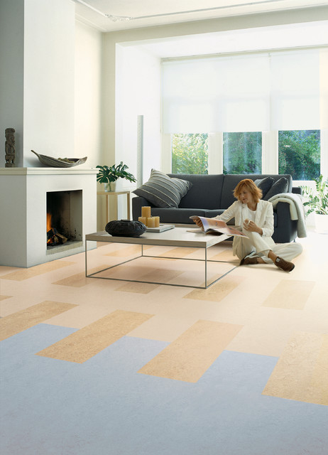 Forbo Marmoleum Click Natural Linoleum Flooring Modern Living Room Chicago By