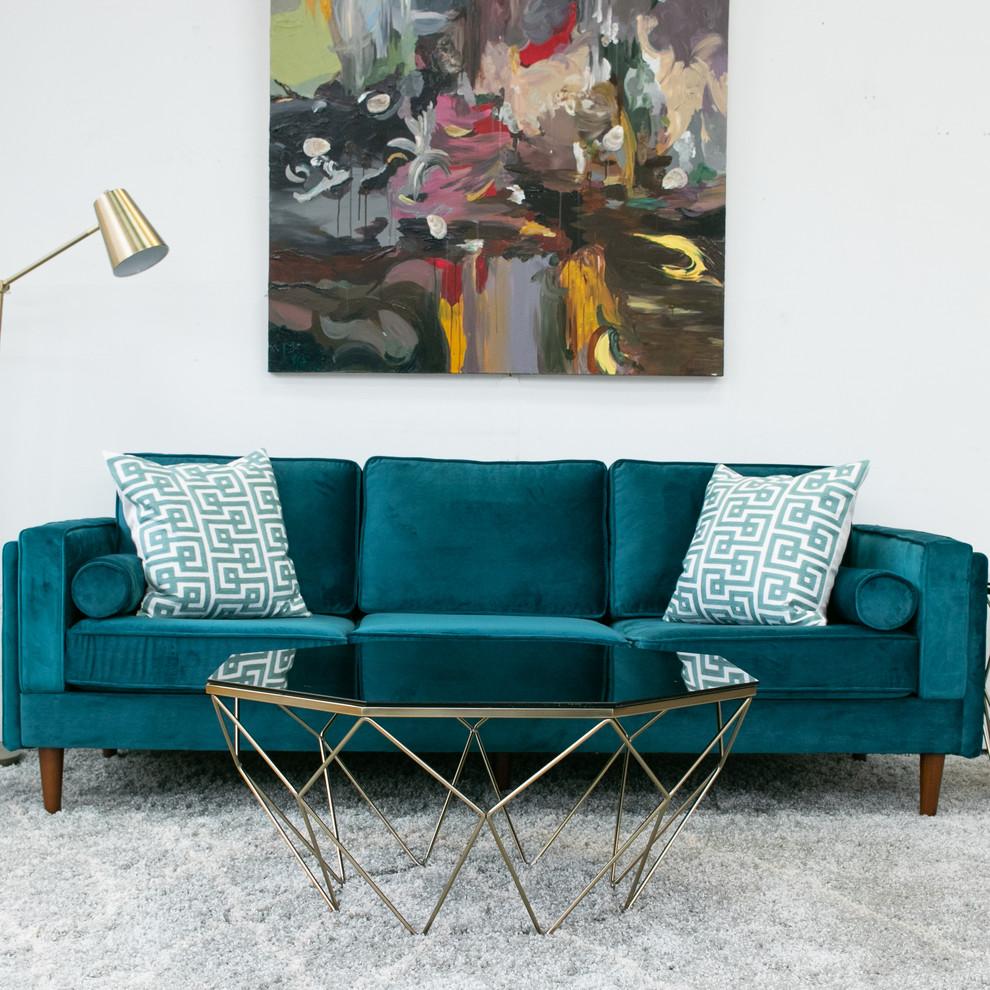 Fordham Emerald Green Velvet Sofa Midcentury Living Room Houston By Ashcroft Imports Furniture Co