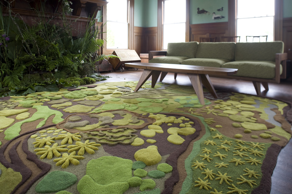 Inspiration for an eclectic dark wood floor living room remodel in Portland Maine