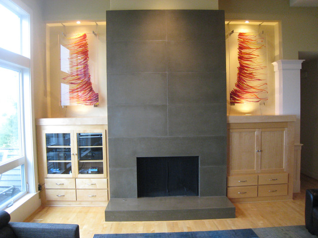 Forest Heights Fireplace Remodel And Custom Art Glass Modern Living Room Portland on living room with fireplace and tv ideas