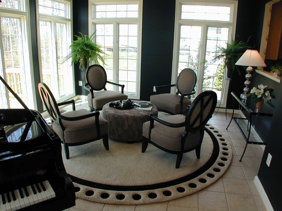 Living room - mid-sized traditional living room idea in DC Metro with a music area and black walls
