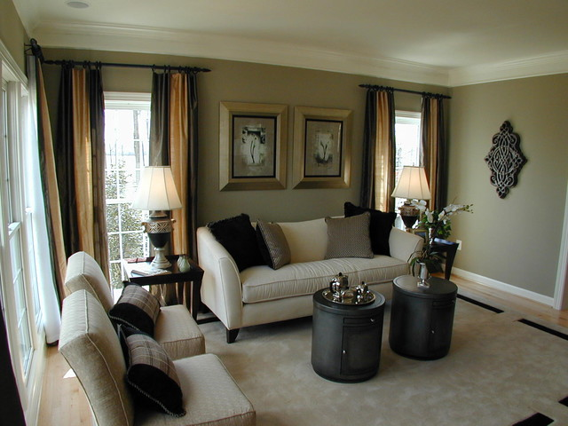 Forest manor model home for Model home living room