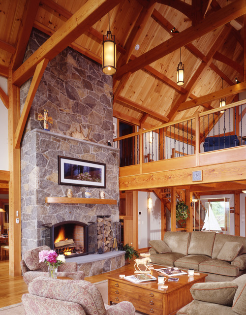 Forest view ski timber frame house living room other for Timber frame great room