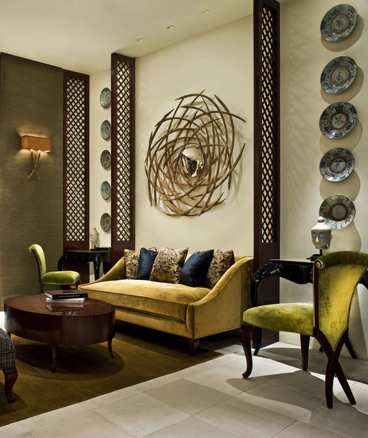formal sitting room with yellow green and taupe tones eclectic living room north west
