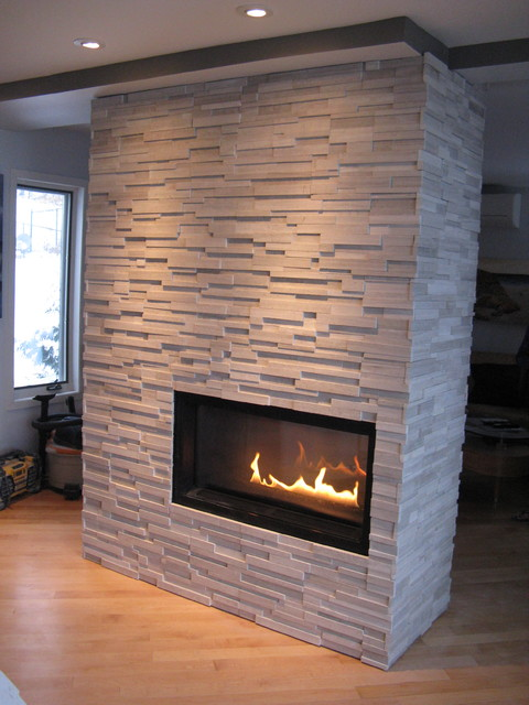 Four sided natural stone panel veneer fireplace for Four sided fireplace